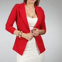 Red 3/4 Sleeve Blazer
