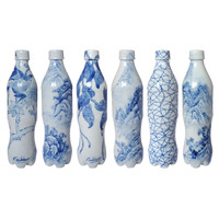 Set of Hand Painted Six Blue and White Cola Bottles by Taikkun Li