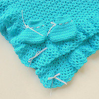 Baby Boy Aqua Blanket And Booties Infant Girl Turquoise Afghan With Slippers Set Gender Neutral Newborn Crochet Shower Gift