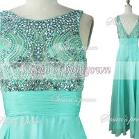 2014 Mint Prom Dress,Straps Beads Crystal Chiffon Dresses,Evening Dress,Evening Gowns,Wedding Dresses,Formal Dress