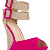 COLORBLOCK DOUBLE ANKLE STRAP PEEP TOE WEDGE SANDAL-Wedges-wedge heels,leopard wedges,suede wedges,Sexy wedges,white wedges,black wedges,sexy wedges,Silver Wedge