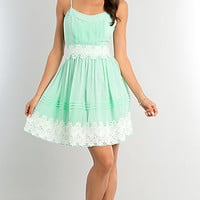 Short Spaghetti Strap Lace Embellished Dress
