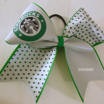 Starbucks Rhinestone Large Cheer Bow Hair Bow Cheerleading