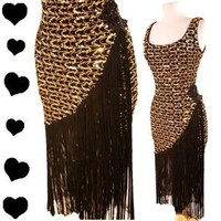 Vintage 80s GOLD Sequin Flapper FRINGE Cocktail Party PROM Dress M L Black Glam | eBay