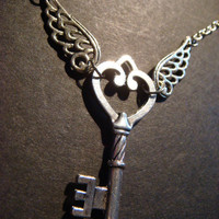 Skeleton Heart  Key Necklace with Wings Antique by CreepyCreationz