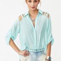 Laced Tail Blouse - Sky Blue in Clothes Tops at Nasty Gal