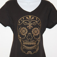 Women's Rhinestone Gold Stud Sugar Skull V-neck black or white T-shirt, Bling tee