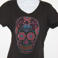 Womans Rhinestone Flower eyes Sugar Skull V-neck black or white Tshirt, Bling tee