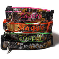 Real Camo, Embroidered on Orange, Pink, Green or Black Dog Collar