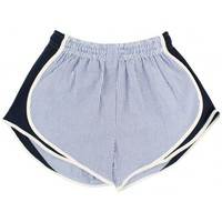 Shorties Shorts in Navy Seersucker by Lauren James
