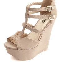 PEEP TOE T-STRAP PLATFORM WEDGE SANDALS