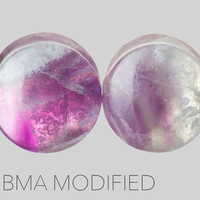 "5/8"" (16mm) Rainbow Fluorite Custom Stone Plugs #3679"
