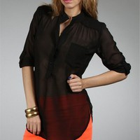 Black Sheer V-neck Tunic Top