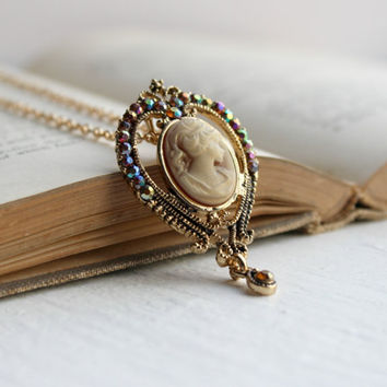 Ornate Gold Lady Cameo Pendant with Iridescent Crystals - Neo Victorian Necklace - Downton Abbey - Handmade Romantic Jewelry - Ready to Ship