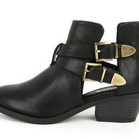Womens Cut Out Shoes Combat Ankle Boots Stacked Heels Bootie Buckle PU-Leather