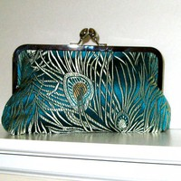 CLUTCH PURSE Peacock Feather Brocade Fabric | Luulla