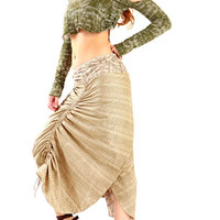 Natural Ivory White Wrap skirt 2 sided reversable by Shovava