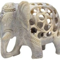 Elephant Decor Figurines - Soapstone Elephant Carving - Carved Elephant Sculpture with Another Elephant Inside - All Handmade From a Single Block of Stone - Perfect Elephant Gifts and Decorations for the Home by SouvNear Inc.