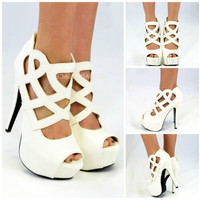 Cleo Cleo White Cutout Caged Heels