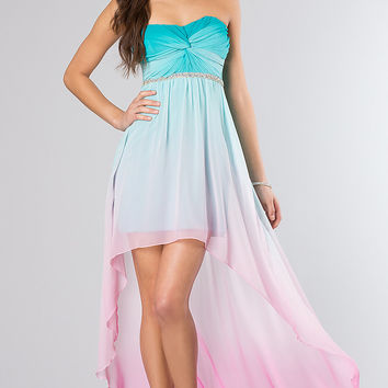 Strapless Ombre High Low Dress