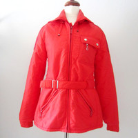 80s Bright Red Ski Coat by Raiski Snow How from Finland, S-M // Vintage Thinsulate Insulated Winter Sports Jacket