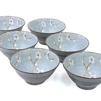 6 pc Japanese rice soup bowl set Sakura LB