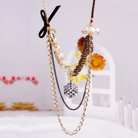 1PCS Luxury Gold Tone Clear Rhinestone Cube&amp;Pearl Bib Necklace free ship | eBay
