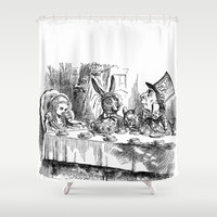 Vintage Alice in Wonderland Mad Hatter & rabbit tea party antique goth emo book gothic drawing print Shower Curtain by iGallery