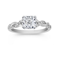 Engagement Ring - Asscher Cut Diamond Petite twisted pave band Engagement Ring in 14K White Gold - ES873ACWG