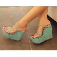 Wholesale Japanese candy color transparent wedge heel slippers CZ-0739 blue - Lovely Fashion