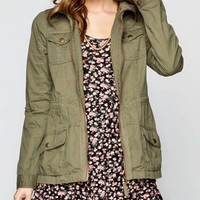 FULL TILT Fleece Hood Womens Twill Anorak Jacket