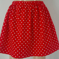 Girls Red and White Polka Dot Skirt Custom Size