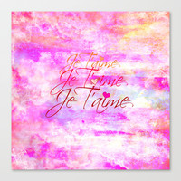 JE T'AIME French Typography Font I Love You Romantic Fine Art Pastel Pink Colorful Abstract Painting Stretched Canvas by EbiEmporium