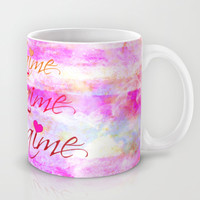 JE T'AIME French Typography Font I Love You Romantic Fine Art Pastel Pink Colorful Abstract Painting Mug by EbiEmporium