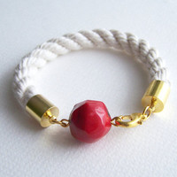 Nautical Rope Bracelet, Red Coral Rope Bracelet, Sailor Beach Bracelet