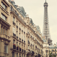 Street View of Eiffel Tower, Paris Art, Travel Photography, Europe, Neutral Beige Home Decor - High Society