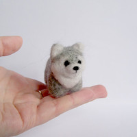 Needle Felted Wolf Miniature Amigurumi Soft by Knittynudo on Etsy