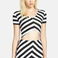 ASTR Stripe Angular Crop Top | Nordstrom