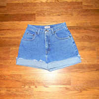 Vintage Denim Cut Offs - 90s Classic Stone Washed Jean Shorts - High Waisted Cut Off/Frayed/Rolled up CROSSROADS Short Shorts Size 9/10