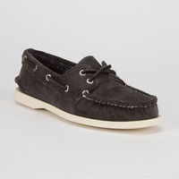 Sperry Top-Sider Cloud Logo Corduroy Authentic Original Womens Boat Shoes Grey Washed Corduroy  In Sizes