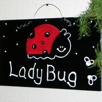 LadyBug Bugs Theme Wood Plaque Wooden Sign & Free Balloons Set | PawsAttraction - Woodworking on ArtFire