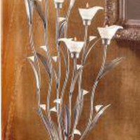 New Unique 32&quot; Tall SILVER CALLA LILY TEALIGHT CANDLEHOLDER Art Deco Style Table Centerpiece by mysticfairygifts