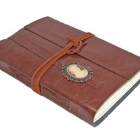 Large Brown Faux Leather Journal with Cameo Bookmark