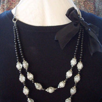 Crackled Glass Beads with Black Bow Necklace by min1971 on Etsy