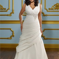 A-Line white Strapless Sexy deep v-neck 2012 Plus Size Wedding Dresses WDPS078 - Wholesale cheap discount price 2012 style online for sale.