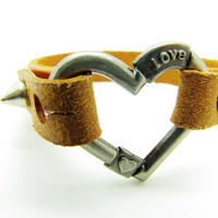 brown leather heartshape bracelet with screw by braceletcool