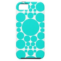 Mint Green Polka Dot Pattern Fabric iPhone 5 Cover