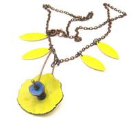 Yellow and Blue Enameled Flower Necklace by SassyBelleWares on Etsy