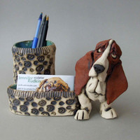 Basset Hound Desk Organizer Ceramic Sculpture