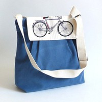 LA POMME Denim Blue French with bicycle by ikabags on Etsy